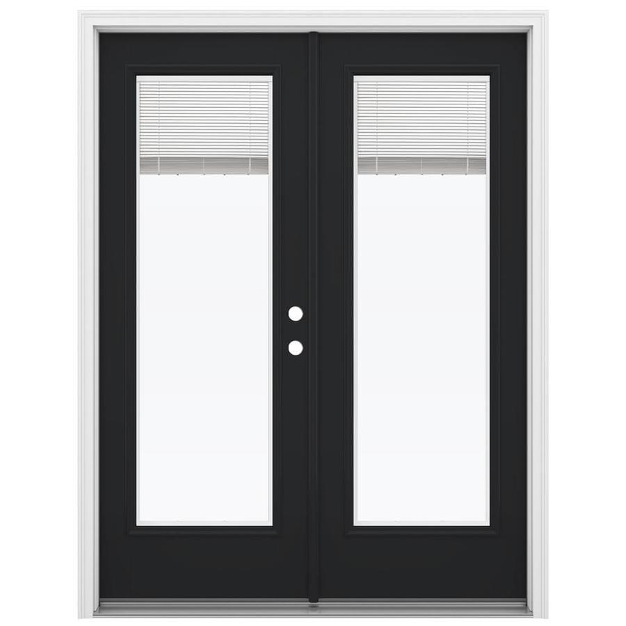 ReliaBilt 59.5-in x 79.5-in Blinds Between the Glass Left-Hand Inswing Fiberglass French Patio Door
