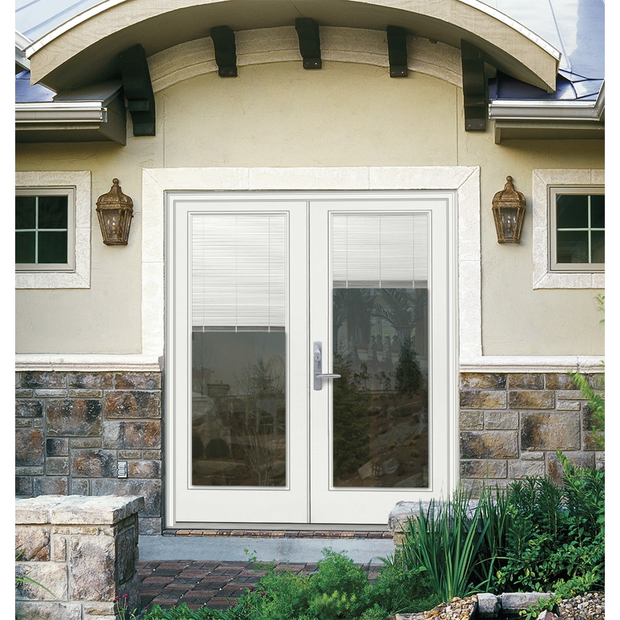 ReliaBilt 59.5-in x 79.5-in Blinds Between the Glass Right-Hand Inswing White Fiberglass French Patio Door