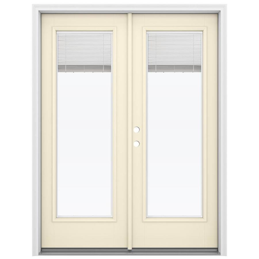 Shop Reliabilt 59 5 In Blinds Between The Glass Bisque Fiberglass French Inswing Patio Door At
