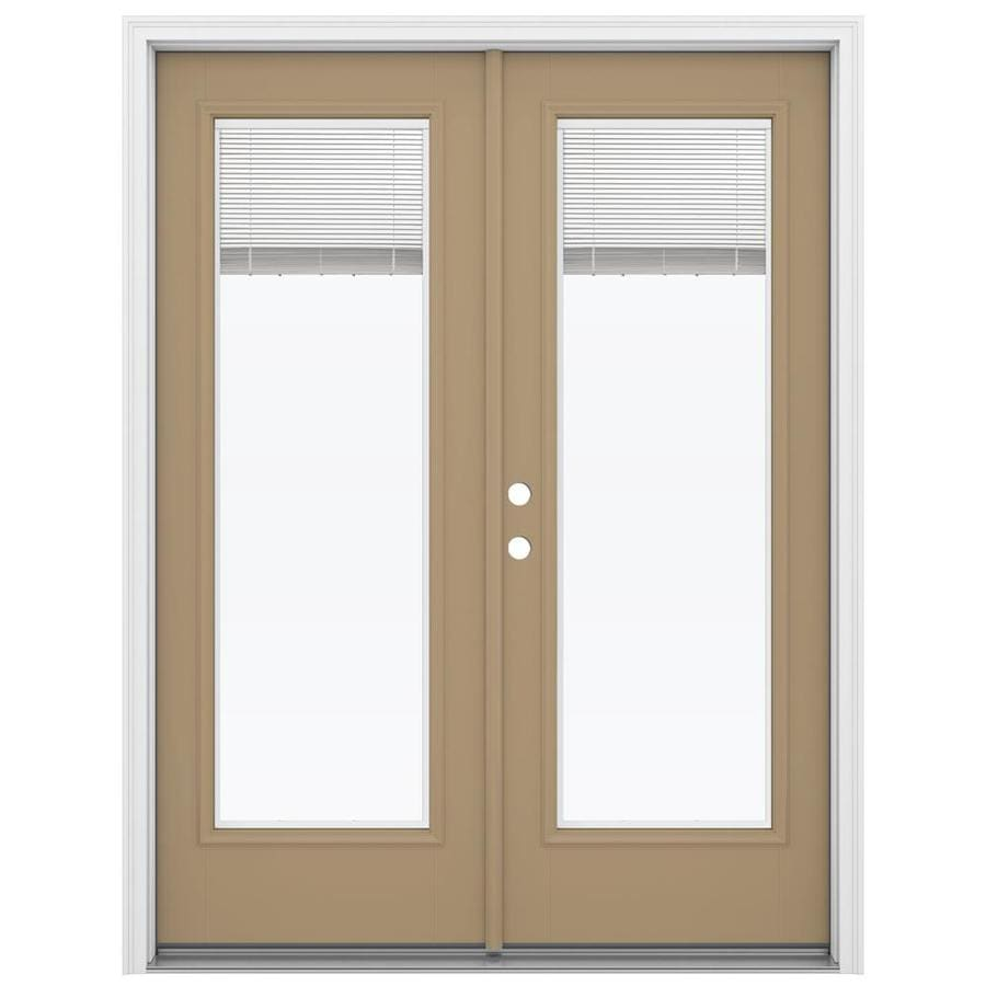 ReliaBilt 59.5-in Blinds Between the Glass Warm Wheat Fiberglass French Inswing Patio Door