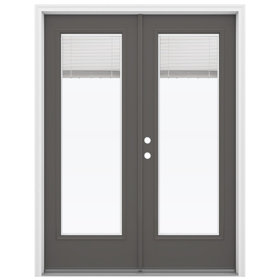 ReliaBilt 59.5-in x 79.5-in Blinds Between the Glass Right-Hand Inswing Gray Fiberglass French Patio Door