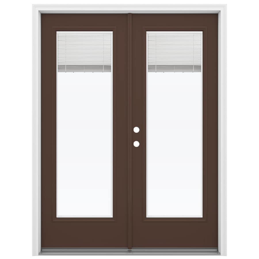 ReliaBilt 59.5-in Blinds Between the Glass Chococate Fiberglass French Inswing Patio Door