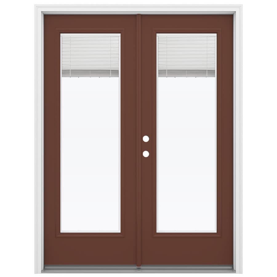 ReliaBilt 59.5-in x 79.5-in Blinds Between the Glass Right-Hand Inswing Brown Fiberglass French Patio Door