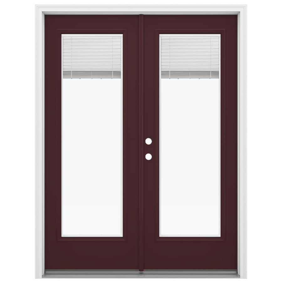 ReliaBilt 59.5-in Blinds Between the Glass Currant Fiberglass French Inswing Patio Door
