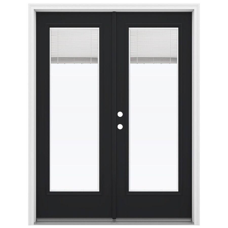 ReliaBilt 59.5-in Blinds Between the Glass Peppercorn Fiberglass French Inswing Patio Door