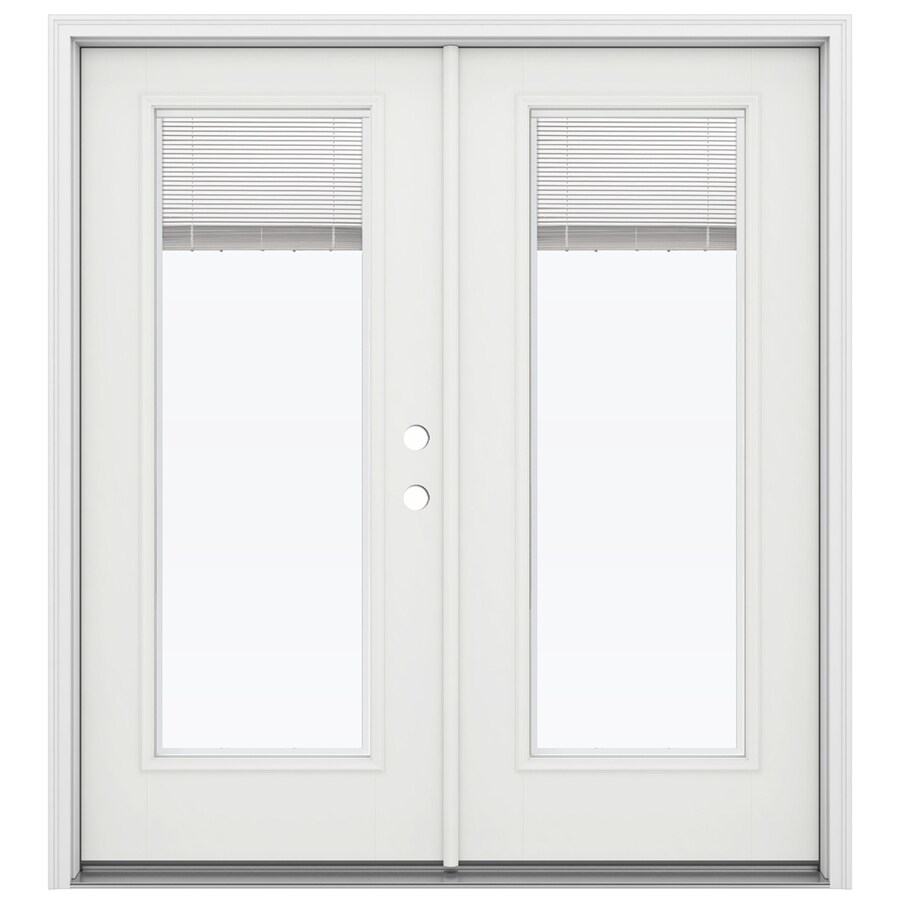 Shop jeld wen 71 5 in x 79 5 in blinds between the glass for Fiberglass french patio doors