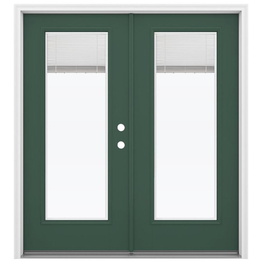 ReliaBilt 71.5-in x 79.5-in Blinds Between the Glass Left-Hand Inswing Green Fiberglass French Patio Door