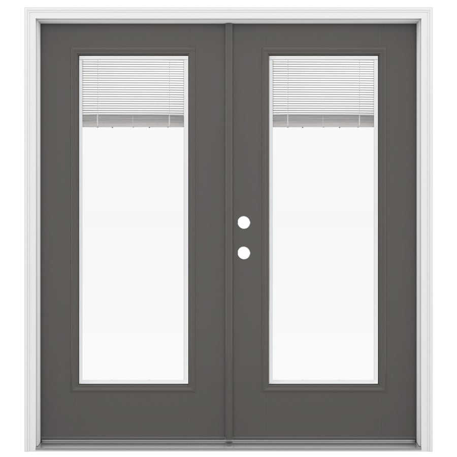 ReliaBilt 71.5-in x 79.5-in Blinds Between the Glass Right-Hand Inswing Gray Fiberglass French Patio Door
