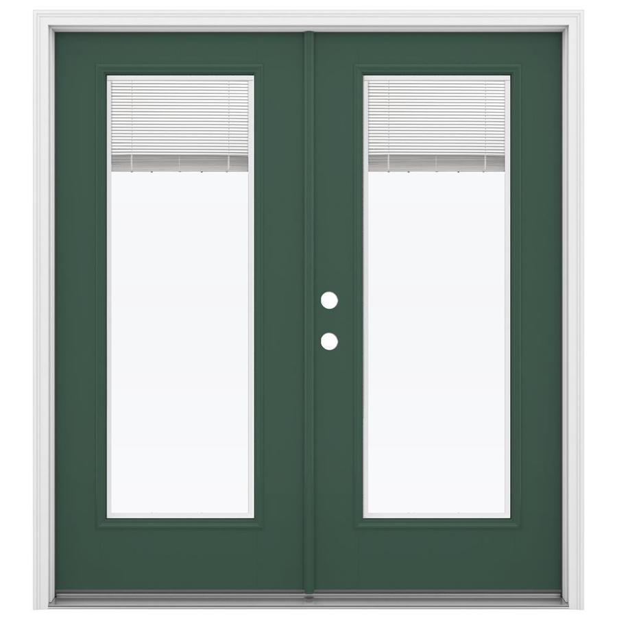 ReliaBilt 71.5-in Blinds Between the Glass Evergreen Fiberglass French Inswing Patio Door