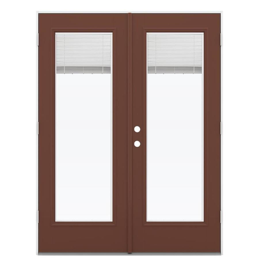 ReliaBilt 59.5-in Blinds Between the Glass Foxtail Fiberglass French Outswing Patio Door