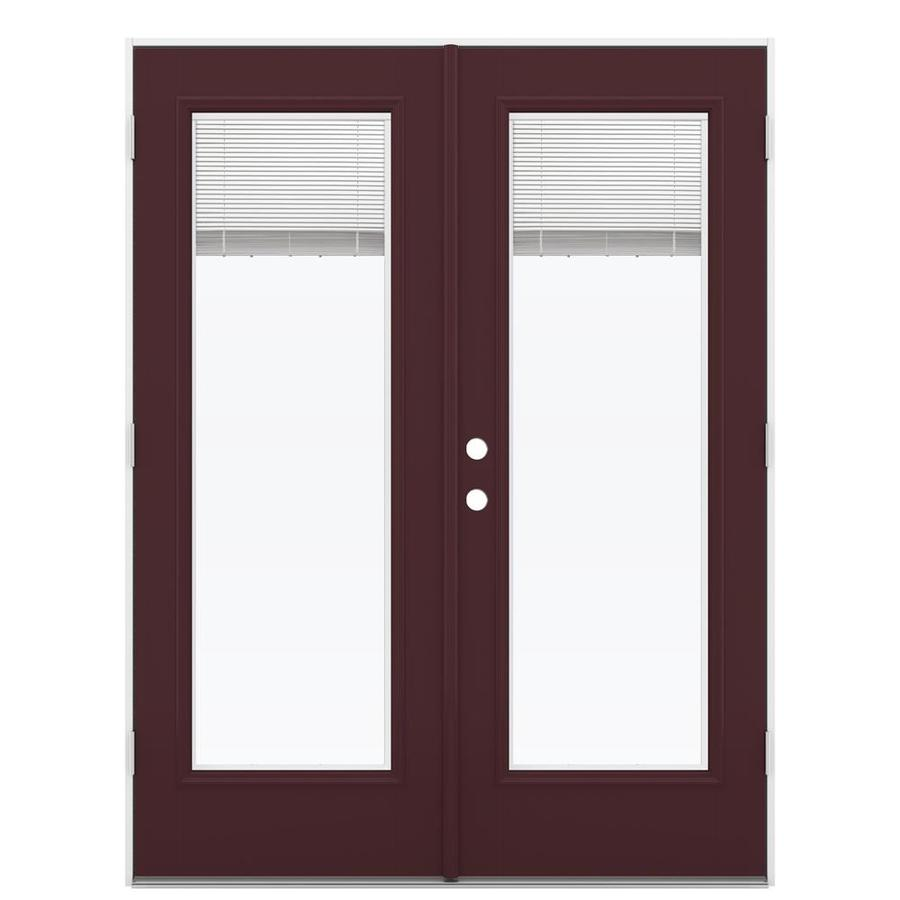 ReliaBilt 59.5-in Blinds Between the Glass Currant Fiberglass French Outswing Patio Door