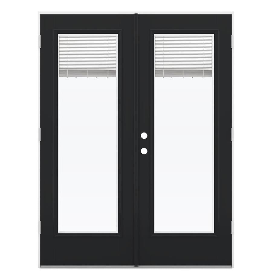 ReliaBilt 59.5-in x 79.5-in Blinds Between the Glass Left-Hand Outswing Black Fiberglass French Patio Door