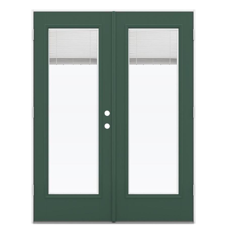 ReliaBilt 59.5-in Blinds Between the Glass Evergreen Fiberglass French Outswing Patio Door