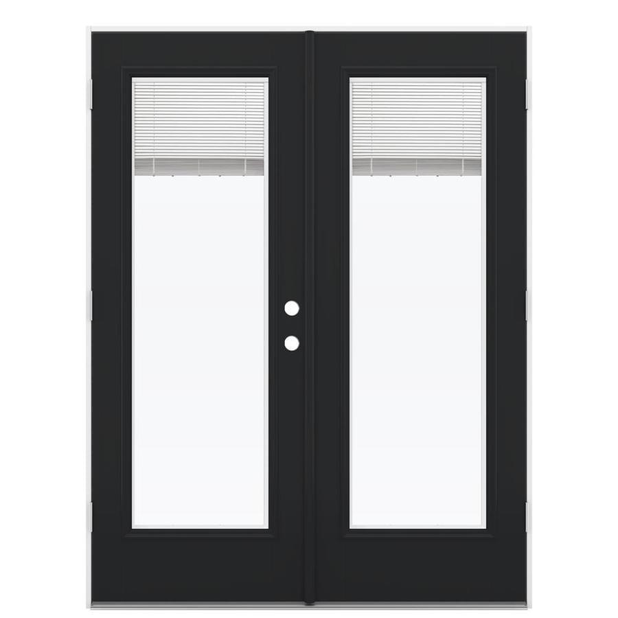 ReliaBilt 59.5-in Blinds Between the Glass Peppercorn Fiberglass French Outswing Patio Door
