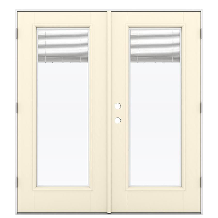 ReliaBilt 71.5-in Blinds Between the Glass Bisque Fiberglass French Outswing Patio Door