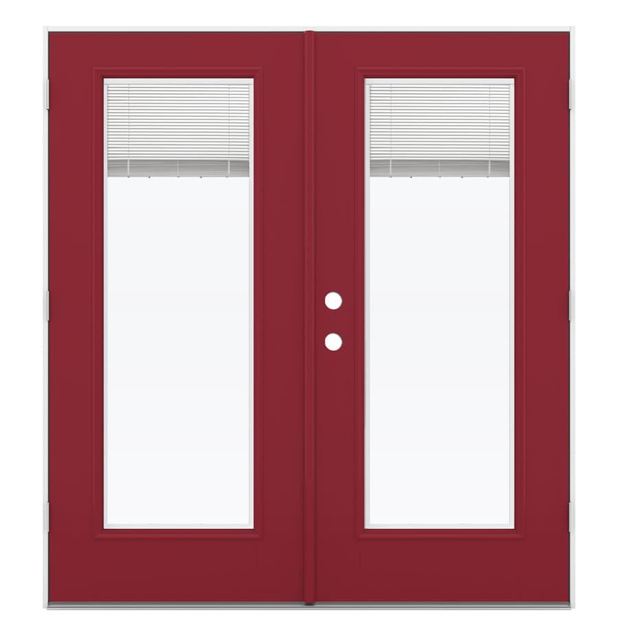 ReliaBilt 71.5-in Blinds Between the Glass Roma Red Fiberglass French Outswing Patio Door