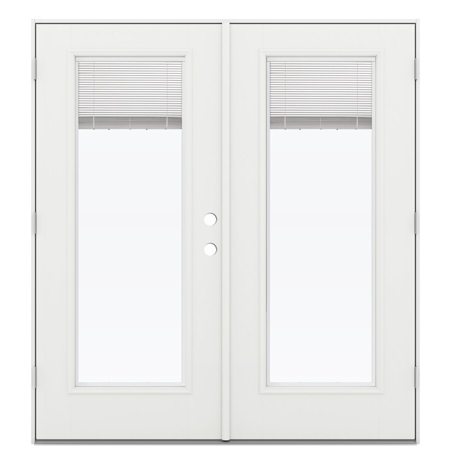 ReliaBilt 71.5-in x 78.625-in Blinds Between the Glass Right-Hand Outswing White Fiberglass French Patio Door