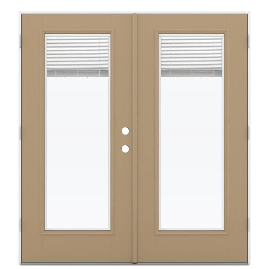 ReliaBilt 71.5-in Blinds Between the Glass Warm Wheat Fiberglass French Outswing Patio Door