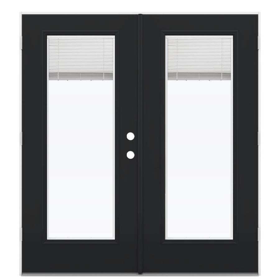 ReliaBilt 71.5-in x 78.625-in Blinds Between the Glass Right-Hand Outswing Fiberglass French Patio Door