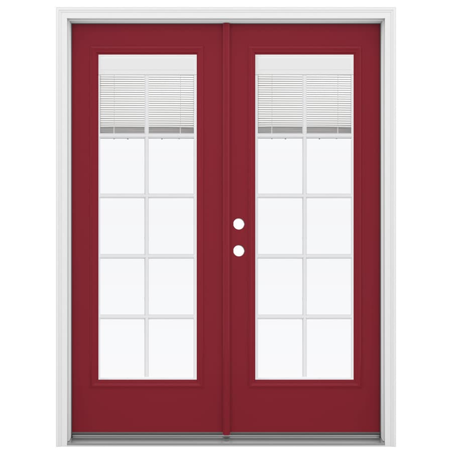 ReliaBilt 59.5-in Blinds Between the Glass Roma Red Fiberglass French Inswing Patio Door