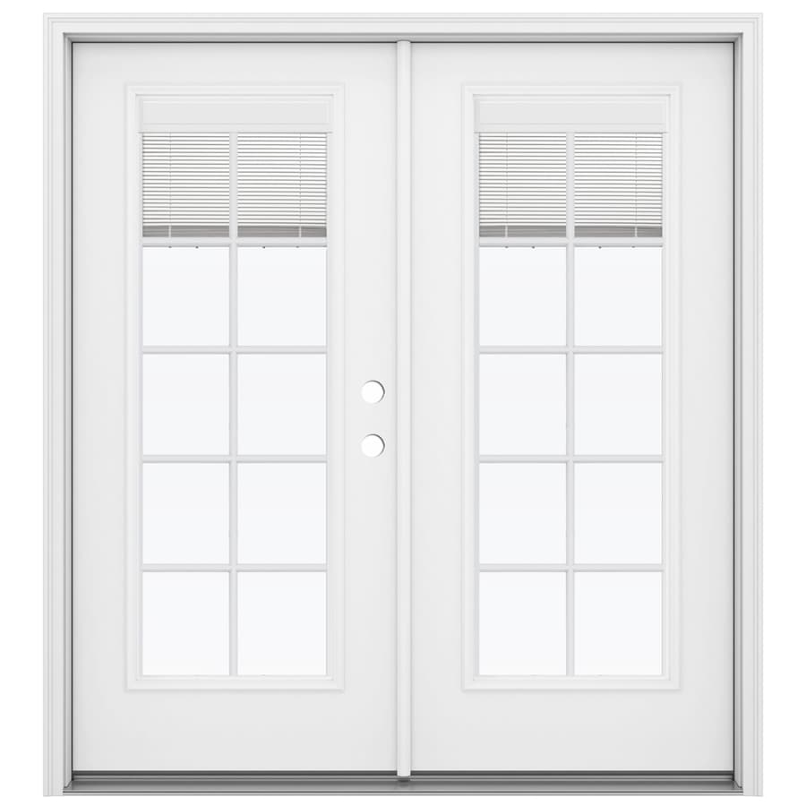 ReliaBilt 71.5-in x 79.5-in Blinds Between the Glass Left-Hand Inswing Fiberglass French Patio Door