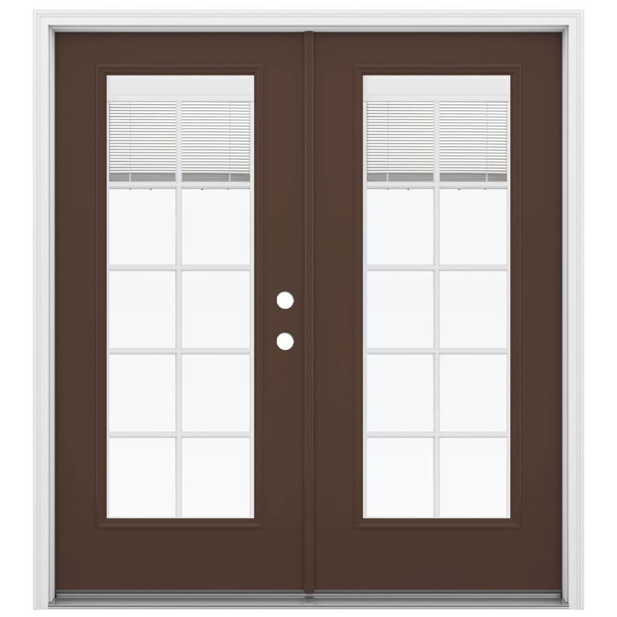 ReliaBilt 71.5-in x 79.5-in Blinds Between the Glass Left-Hand Inswing Fiberglass French Patio Door
