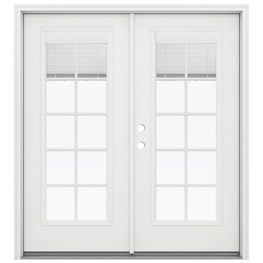 ReliaBilt 71.5-in x 79.5-in Blinds Between the Glass Right-Hand Inswing White Fiberglass French Patio Door