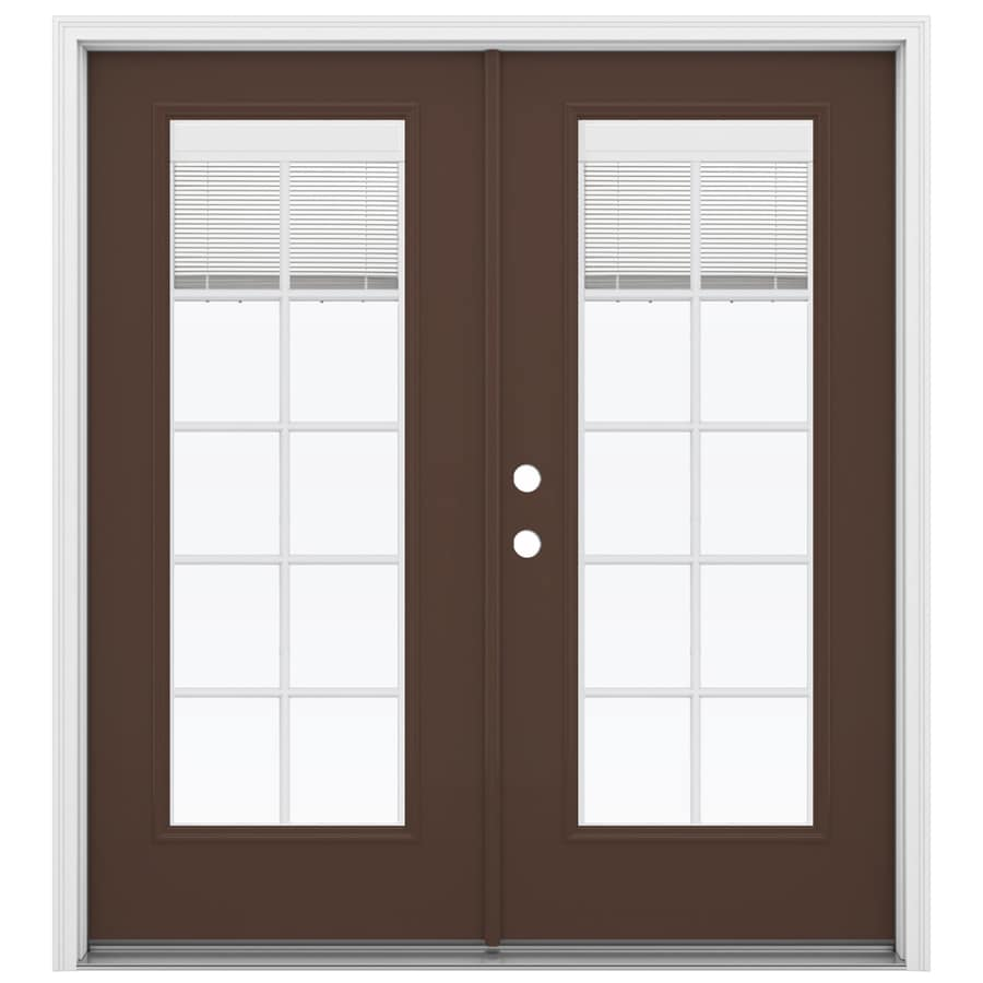 ReliaBilt 71.5-in Blinds Between the Glass Chococate Fiberglass French Inswing Patio Door