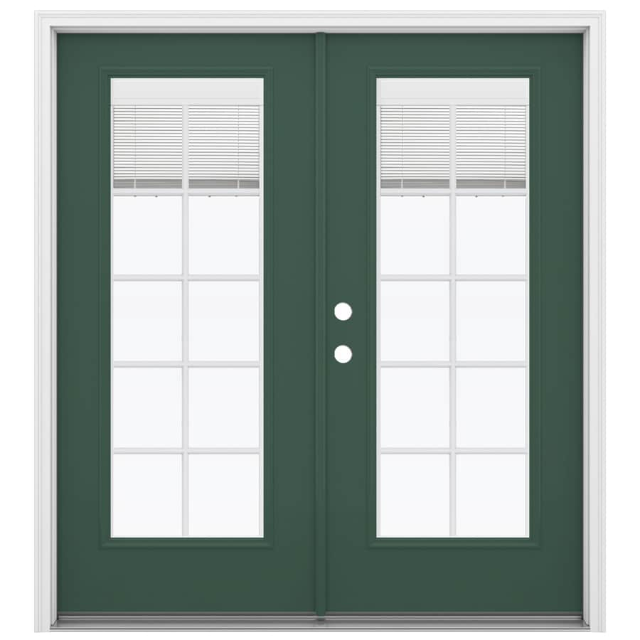 ReliaBilt 71.5-in Blinds Between the Glass Evergreen Fiberglass French Inswing Patio Door