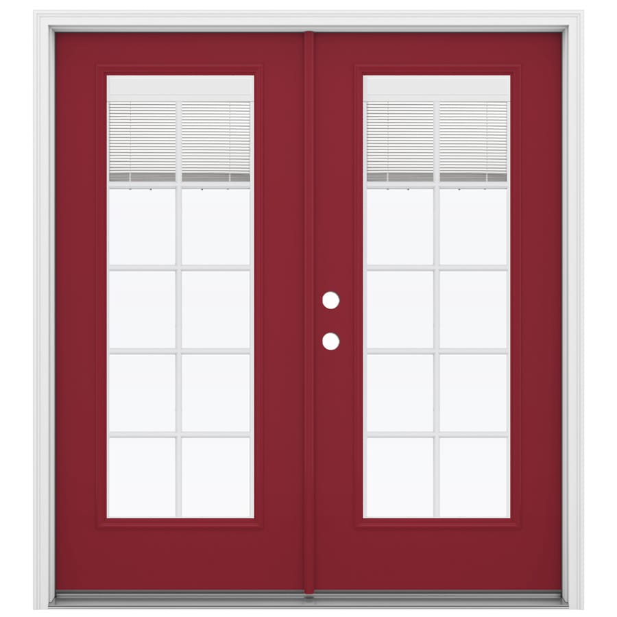 ReliaBilt 71.5-in x 79.5-in Blinds Between the Glass Right-Hand Inswing Red Fiberglass French Patio Door