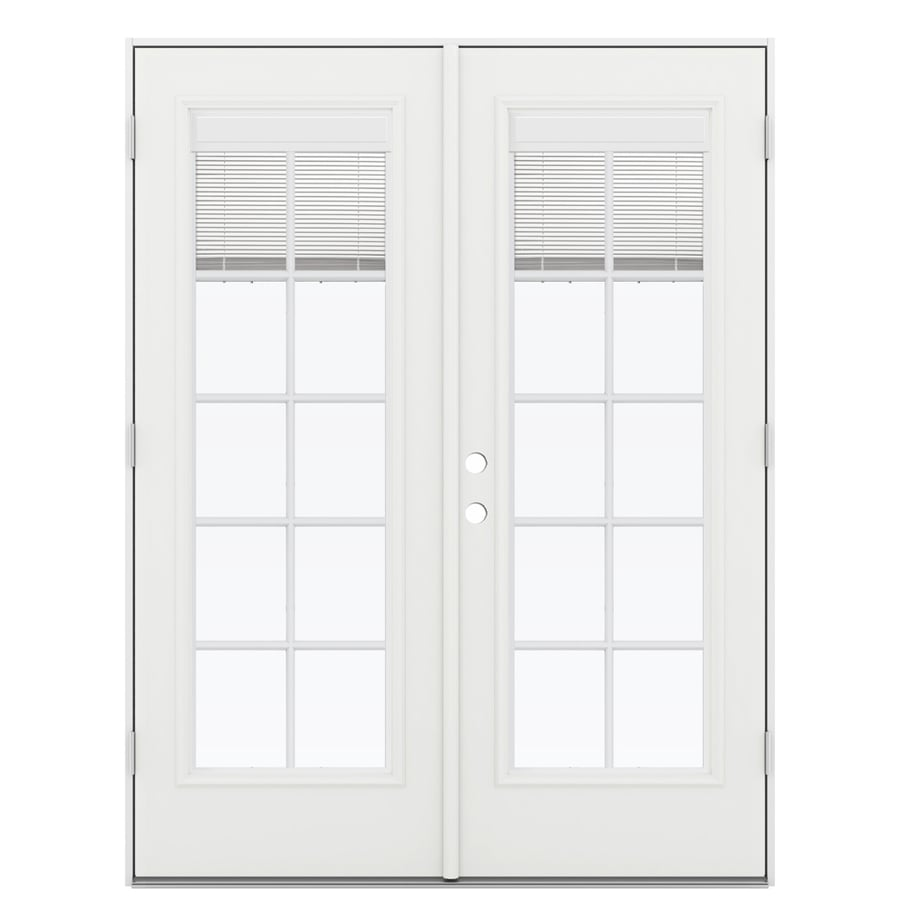 ReliaBilt 59.5-in Blinds Between the Glass Arctic White Fiberglass French Outswing Patio Door
