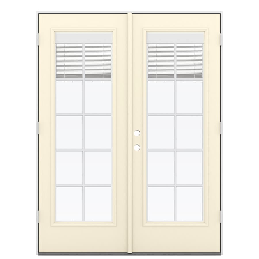 ReliaBilt 59.5-in x 79.5-in Blinds Between the Glass Left-Hand Outswing Off-white Fiberglass French Patio Door