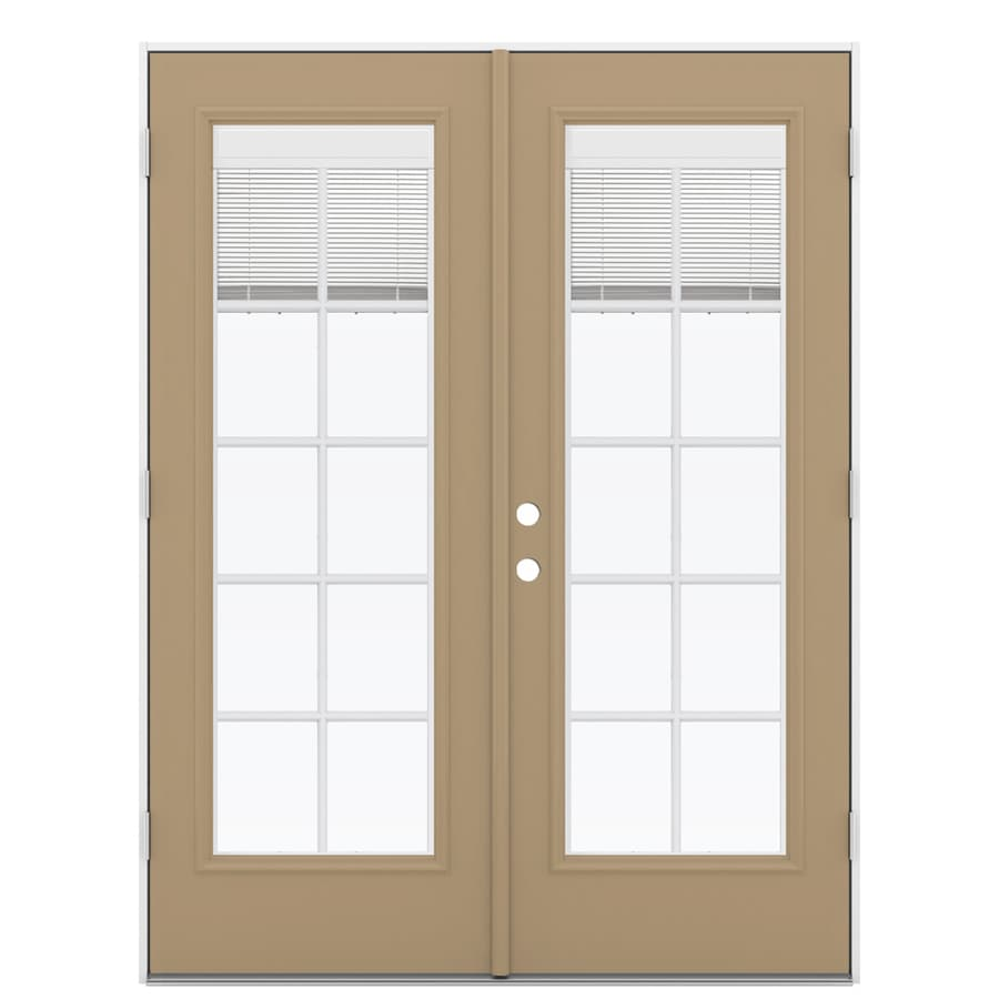 ReliaBilt 59.5-in Blinds Between the Glass Warm Wheat Fiberglass French Outswing Patio Door