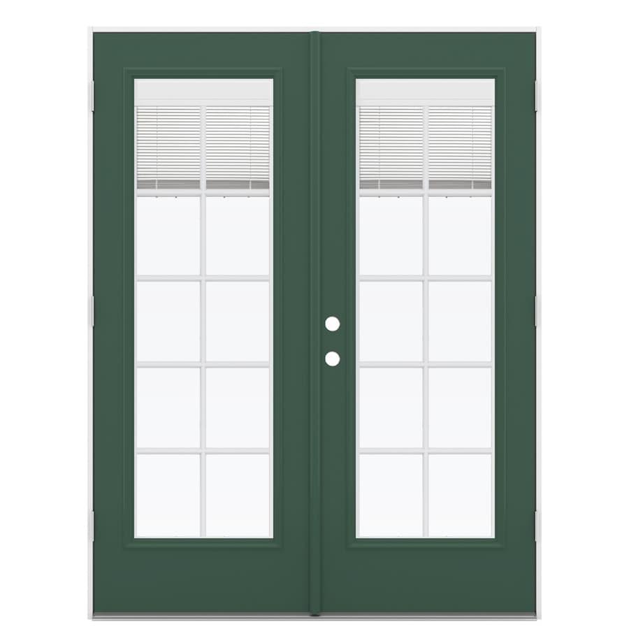 ReliaBilt 59.5-in x 79.5-in Blinds Between the Glass Left-Hand Outswing Green Fiberglass French Patio Door