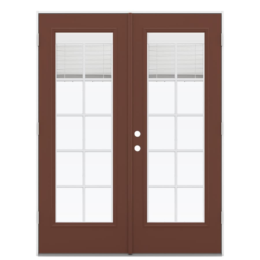 ReliaBilt 59.5-in x 79.5-in Blinds Between the Glass Left-Hand Outswing Brown Fiberglass French Patio Door