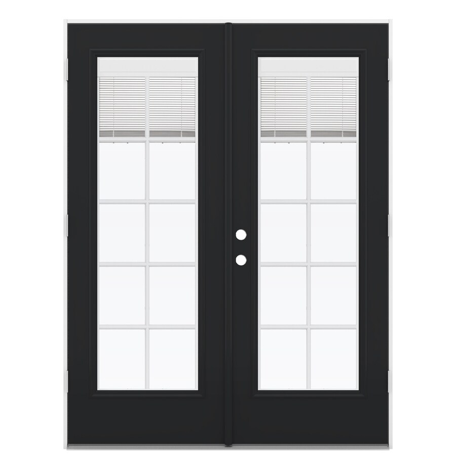 ReliaBilt 59.5-in x 78.625-in Blinds Between the Glass Left-Hand Outswing Fiberglass French Patio Door