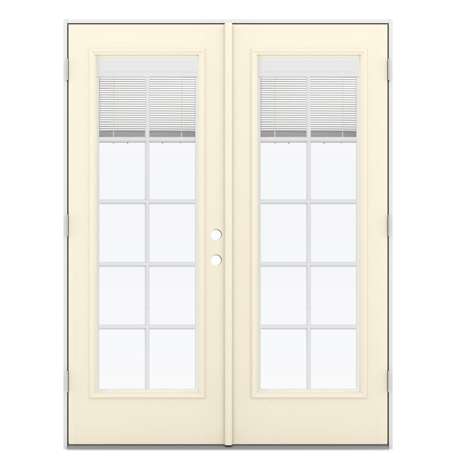 ReliaBilt 59.5-in x 79.5-in Blinds Between the Glass Right-Hand Outswing Off-white Fiberglass French Patio Door
