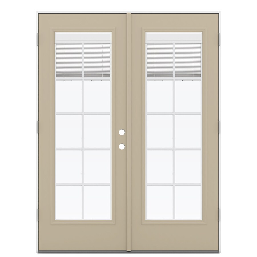 ReliaBilt 59.5-in x 78.625-in Blinds Between the Glass Right-Hand Outswing Fiberglass French Patio Door