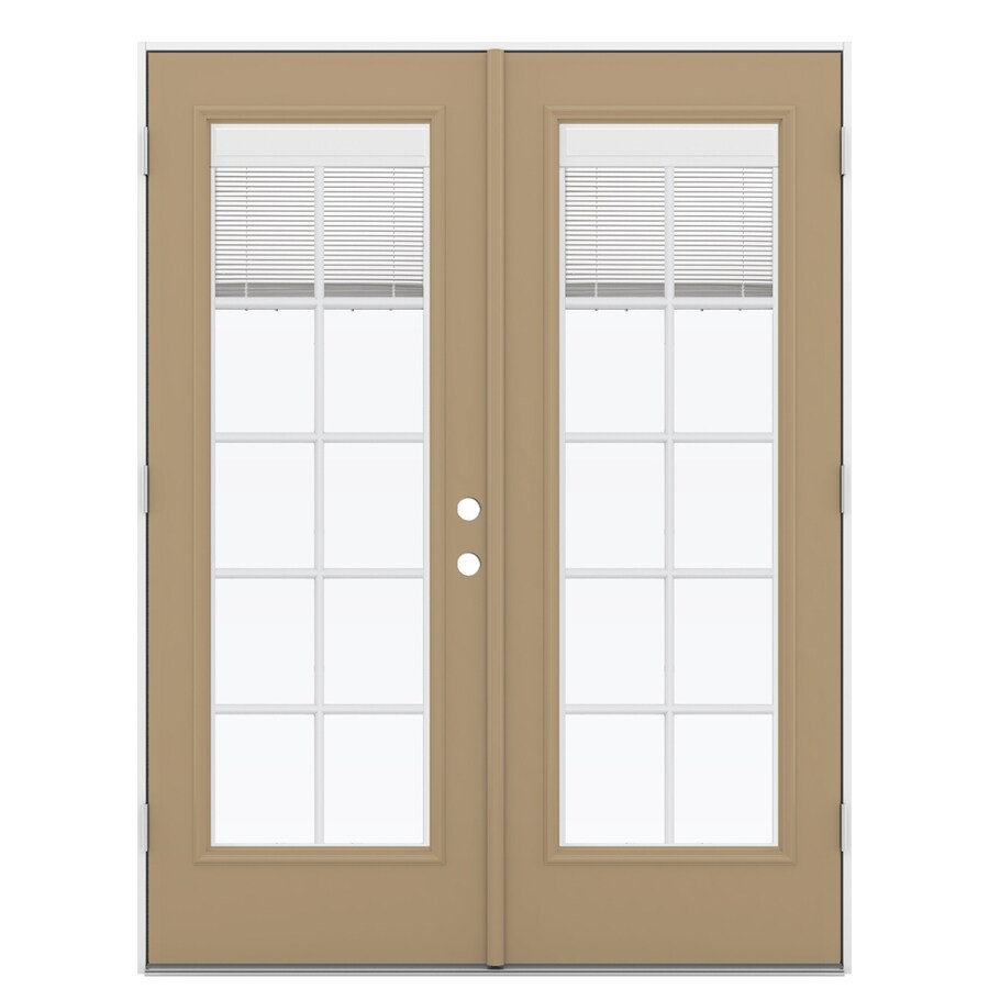 ReliaBilt 59.5 In Blinds Between The Glass Warm Wheat Fiberglass French  Outswing Patio Door