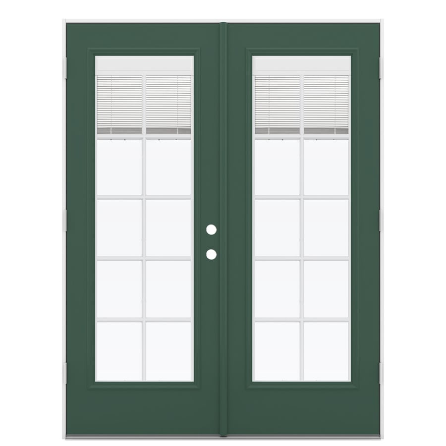 ReliaBilt 59.5-in x 78.625-in Blinds Between the Glass Right-Hand Outswing Green Fiberglass French Patio Door