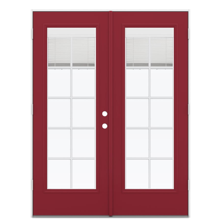 ReliaBilt 59.5-in Blinds Between the Glass Roma Red Fiberglass French Outswing Patio Door