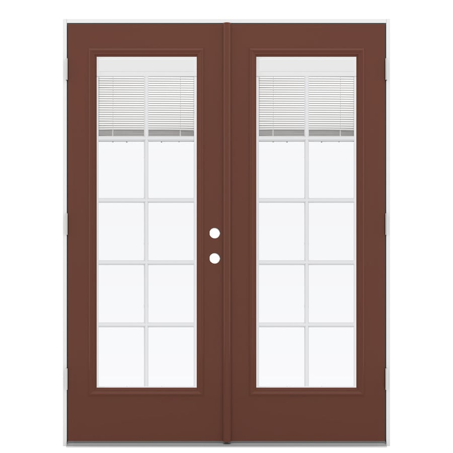ReliaBilt 59.5-in x 79.5-in Blinds Between the Glass Right-Hand Outswing Brown Fiberglass French Patio Door