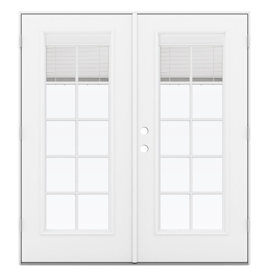 Jeld wen french blinds between the glass primed fiberglass - Outswing exterior french doors with blinds ...
