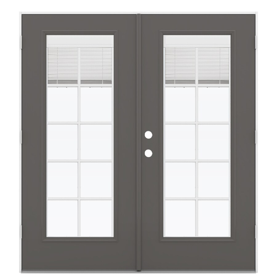ReliaBilt 71.5-in x 78.625-in Blinds Between the Glass Left-Hand Outswing Gray Fiberglass French Patio Door