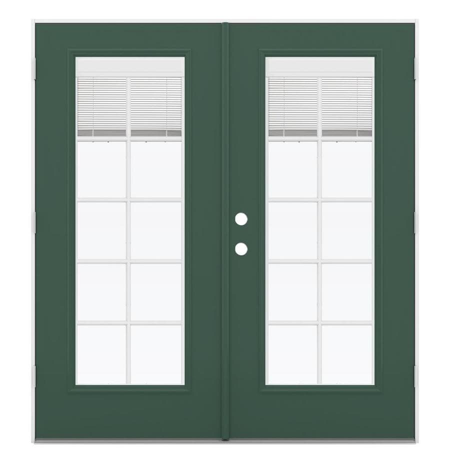 ReliaBilt 71.5-in x 78.625-in Blinds Between the Glass Left-Hand Outswing Green Fiberglass French Patio Door