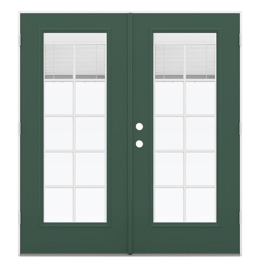 ReliaBilt 71.5-in Blinds Between the Glass Evergreen Fiberglass French Outswing Patio Door