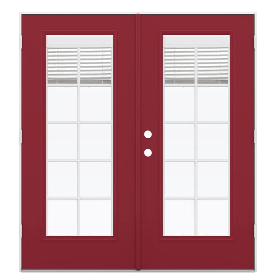 ReliaBilt 71.5-in x 78.625-in Blinds Between the Glass Left-Hand Outswing Red Fiberglass French Patio Door