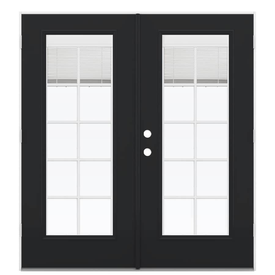 ReliaBilt 71.5-in x 78.625-in Blinds Between the Glass Left-Hand Outswing Fiberglass French Patio Door