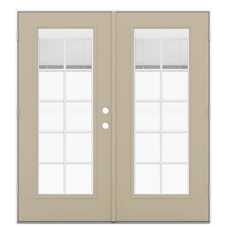ReliaBilt 71.5-in x 79.5-in Blinds Between the Glass Right-Hand Outswing Brown Fiberglass French Patio Door