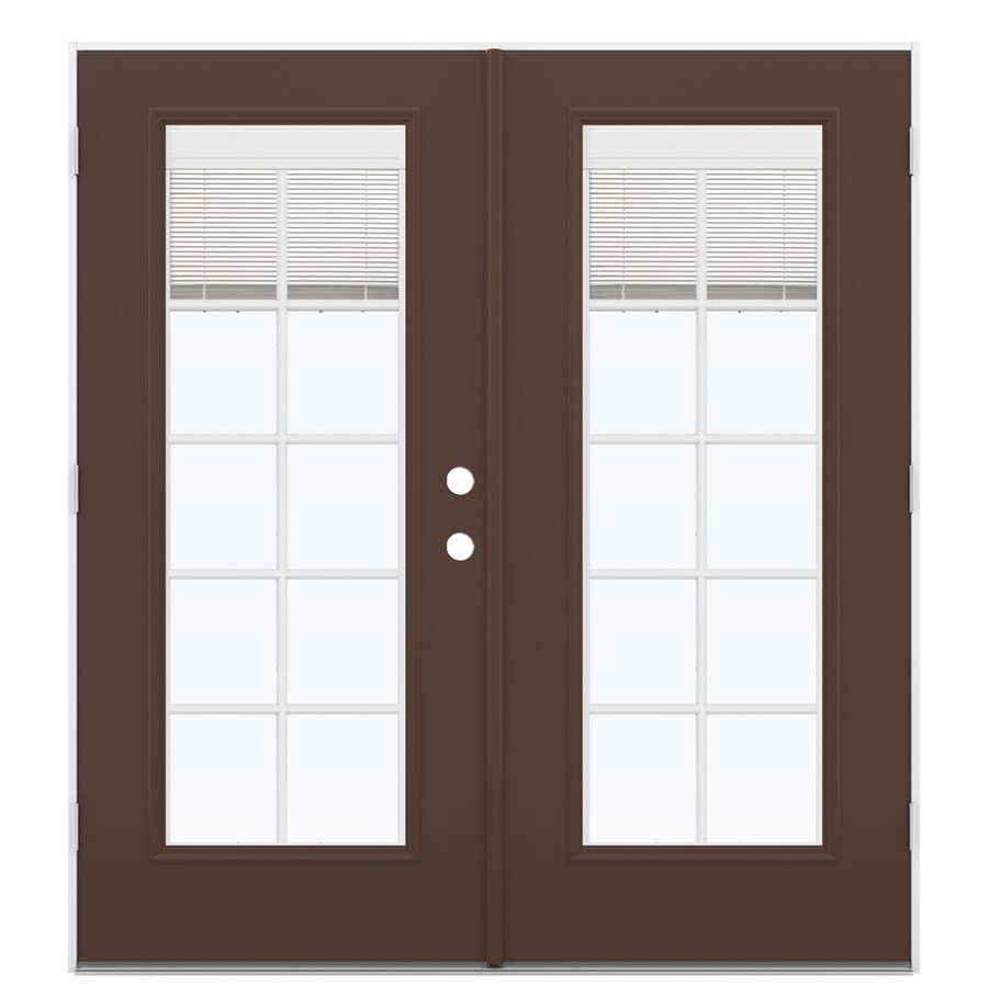 Shop reliabilt 71 5 in blinds between the glass chococate for Fiberglass french patio doors